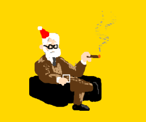 Freud with party hat on chair
